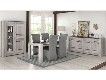 Salle à manger complète moderne couleur chêne gris ANGUS
