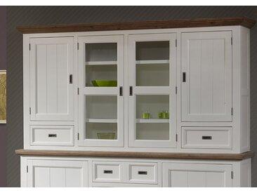 Rehausse vaisselier contemporain bois massif couleur blanc EMELINE