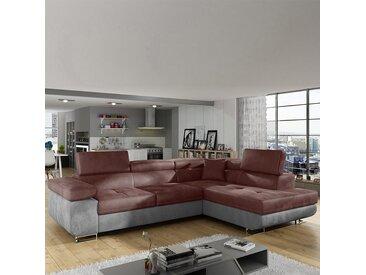 Grand canapé d'angle à droite terracotta et gris LIAM