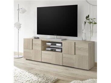 Grand meuble TV contemporain couleur chêne DOMINOS 3-L 181 x P 42 x H 57 cm- Beige