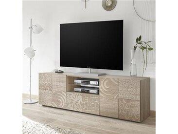 Grand banc TV couleur chêne clair NERINA 3