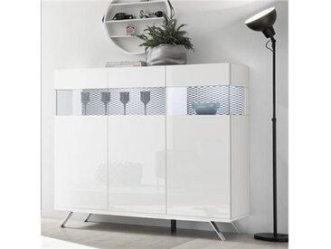 Argentier lumineux design blanc et noir PALERMO 3-L 138 x P 50 x H 133 cm- Blanc
