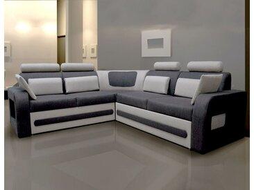 Canapé d'angle convertible en tissu gris avec coffre VITALIS 2