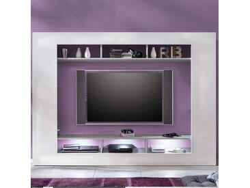 Ensemble télévision design blanc laqué et couleur béton gris ERWAN