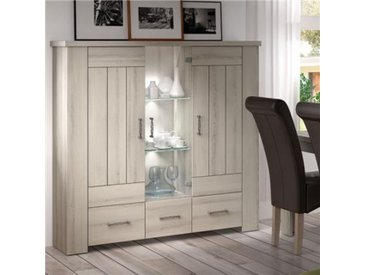 Vaisselier 140 cm couleur bois clair OPALINE-L 140 x P 40 x H 145 cm- Beige