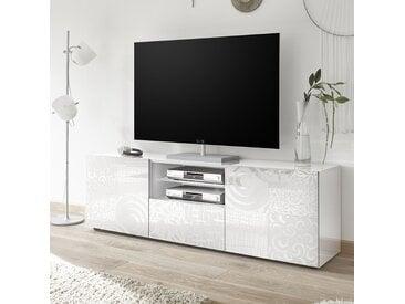Grand meuble TV blanc laqué design NERINA