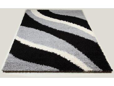Tapis shaggy noir et gris de salon STEPHEN 8