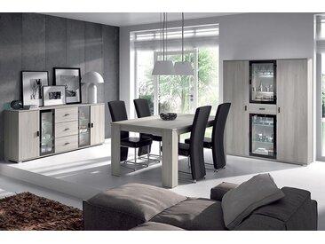 Salle à manger complète couleur chêne gris contemporaine SOPHIE