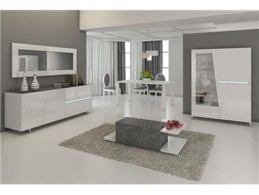 Salle à manger complète blanc laqué décor ardoise design JULIA-L 120 x P 45 x H 155 cm- Blanc