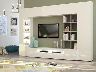Ensemble meuble TV blanc et taupe laqué design BLANDINE 3