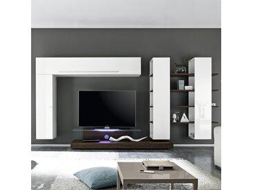 Ensemble meuble TV blanc et wengé ELVIRA avec éclairage