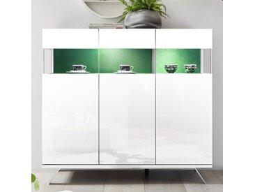 Buffet haut design blanc et vert avec LED PALERMO