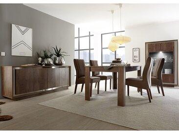 Salle à manger complète couleur bois et chrome LORRAINE