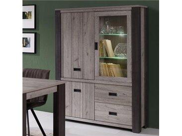 Argentier lumineux 120 cm contemporain couleur chêne gris MELANY-L 120 x P 40 x H 170 cm- Gris