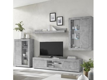 Ensemble meuble TV design effet béton gris ARIEL 4