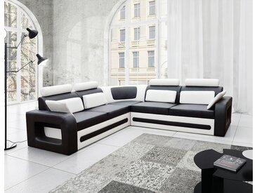 Canapé d'angle convertible noir et blanc avec coffre en PU VITALIS