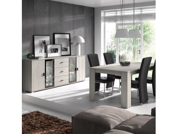 Salle à manger avec éclairage contemporaine couleur chêne gris SOPHIE