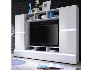 Ensemble meuble TV blanc laqué design VALERIO