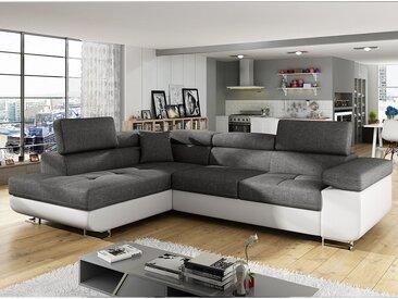 Canapé d'angle convertible gris et blanc LIAM 4 (2 couleurs au choix)