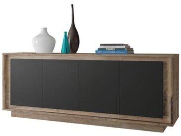 Enfilade 4 portes couleur bois et noir moderne SKYLINE-L 207 x P 50 x H 80 cm- Marron