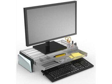 Support écran Mesh Alba - avec espace de rangement - L55 cm x largeur 25 + 2 x H12,5 cm - gris - Lot de 4