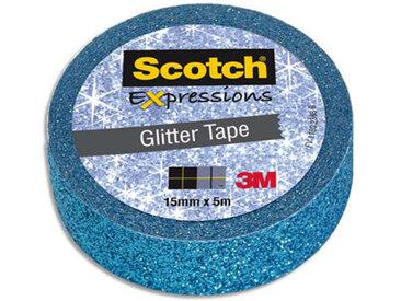 Ruban masking tape Scotch Expression - 15 mm x 5 m - pailleté bleu - Lot de 16