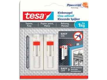Clous adhésifs ajustables Tesa - pour papier peint et plâtre - charge 1 kg - L1,3 x H14 x P1,4 cm - boîte de 2
