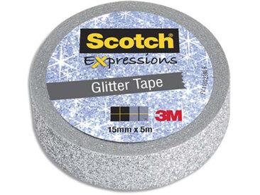 Ruban masking tape Scotch Expression - 15 mm x 5 m - pailleté argent - Lot de 16