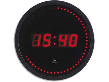 Horloge à led Horled - cadre plastique noir - affichage numérique rouge à quartz - diamètre 30cm