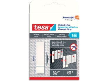Languettes adhésives blanches Tesa - papier peint et plâtre - charge 1kg - L1,5xH13xP0,1 cm - boite de 6