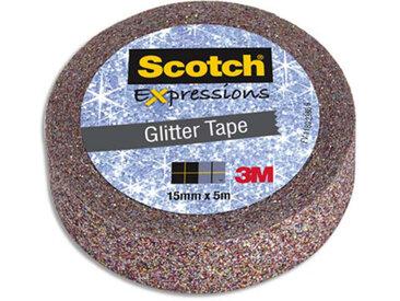 Ruban masking tape Scotch Expression - 15 mm x 5 m - pailleté multicolor - Lot de 16