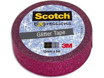 Ruban masking tape Scotch Expression - 15 mm x 5 m - pailleté rose - Lot de 16