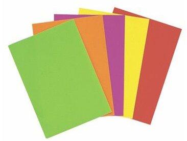 Feuilles affiche fluo - 90 g - A4 - 5 couleurs assorties - paquet de 50