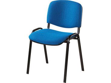 Chaise de réunion 4 pieds tissu bleu