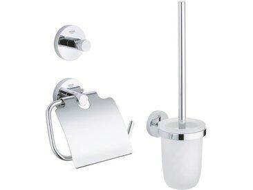 Essentials Set d'accessoires 3 en 1 : Patère murale + Brosse WC et support + Support papier-toilette, chrome (40407001)
