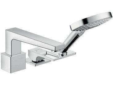 Metropol Set de finition mitigeur 3 trous pour montage sur bord de baignoire avec Secuflex, poignée étrier, chromé (74550000)