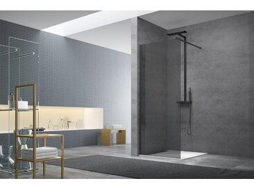 Paroi de douche à l'italienne 87x200 cm Walk-in, anti-calcaire, verre fumé (WI90KS-SET)