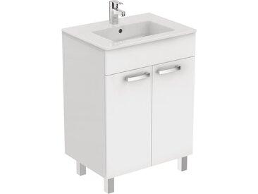 Meuble sur pied Ulysse 60 cm et lavabo-plan, blanc laqué (E3255WG)
