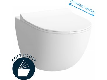 SENTO Cuvette compacte 49,5 cm avec fixations invisibles + abattant ultra-fin softclose (SentoCompact)