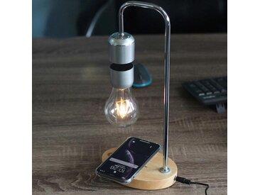 Levitas - Lampe de chevet à lévitation et chargeur à induction, en acier et bois