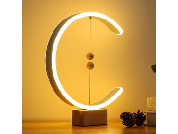 Clara - Lampe de chevet à interrupteur magnétique, en bois et aluminium