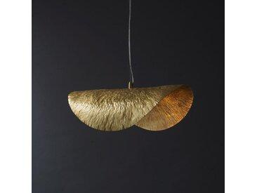 Agathe - Suspension luminaire en cuivre antique martelé et doré