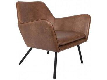 ALABAMA - Fauteuil de salon aspect cuir vintage marron