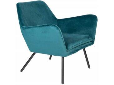 ALABAMA - Fauteuil de salon confortable en velours bleu
