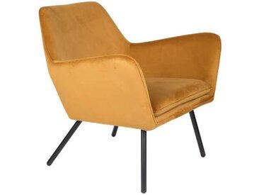 ALABAMA - Fauteuil de salon confortable en velours jaune or
