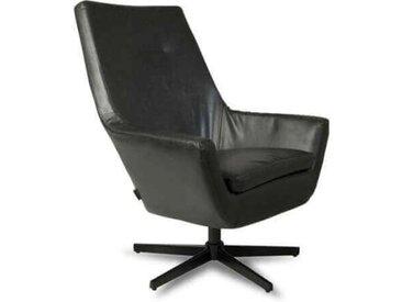 RETRO LOUNGE - Fauteuil de salon en aspect cuir noir
