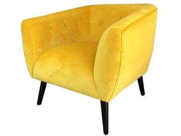 LULEA - Fauteuil confortable en tissu velours jaune