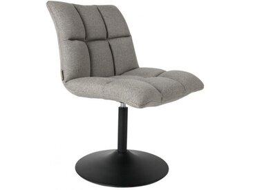 MINI BAR - Chaise rotative tissu gris clair