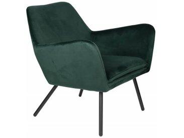 ALABAMA - Fauteuil de salon confortable en velours vert