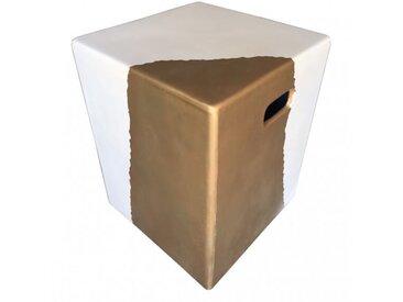 CUBE OR - Bout de canapé béton blanc et or